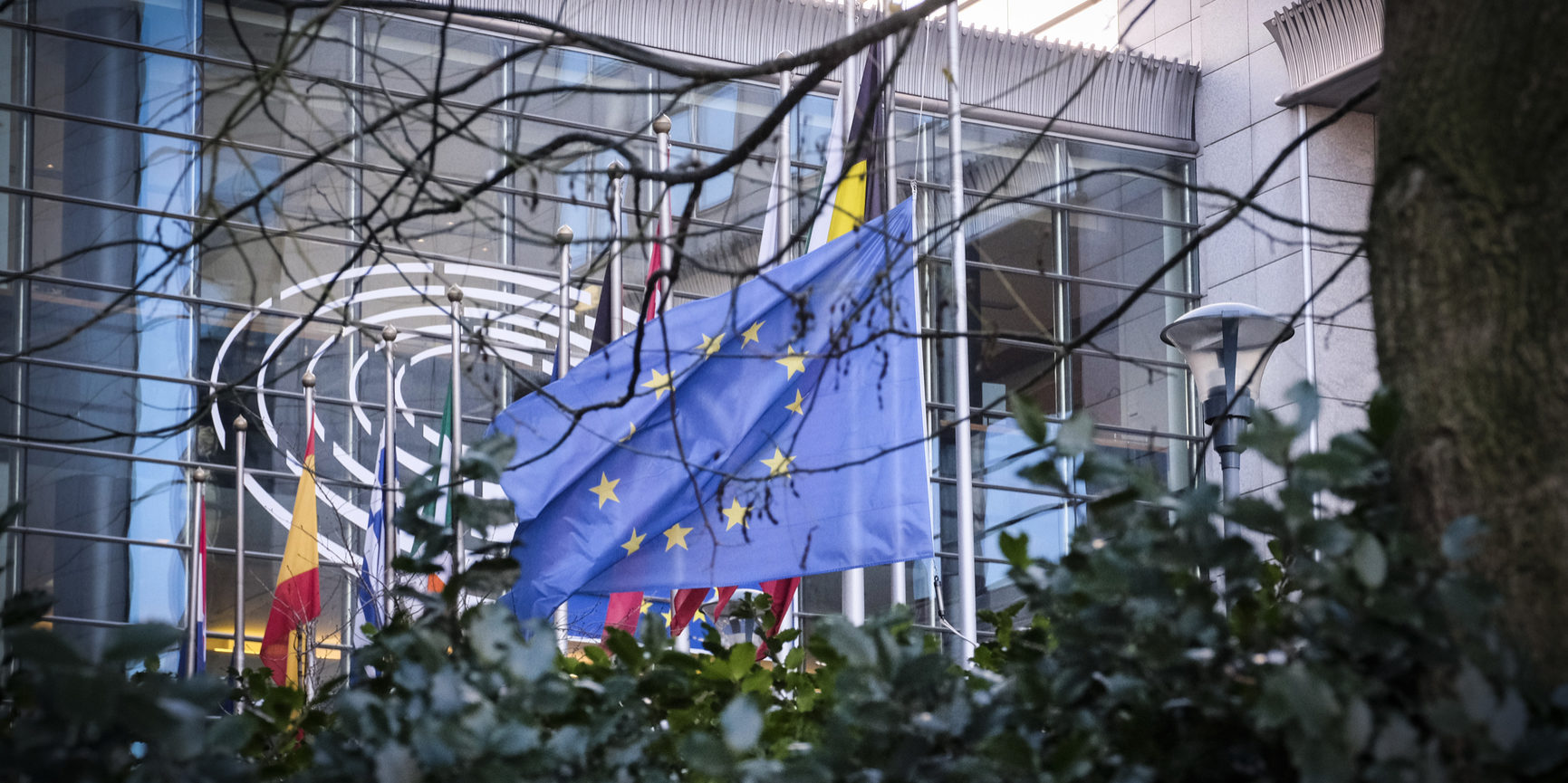 EU and French flags at half-mast at the European Parliament in Brussels as a tribute to the victims of the terrorist attack in Strasbourg of 11/12/2018